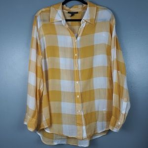 Lane Bryant golden yellow and white button-down 18